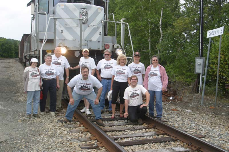 Save the Depot shirts in front of train